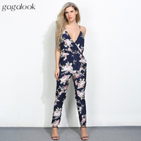 Gagalook 2017 Brand Summer Women Jumpsuit Romper Sexy Strap V Neck Backless Floral Print Beach Elegant Bodycon Overalls P1511