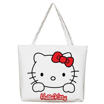 Canvas Women Casual Tote Designer Lady Large Bag Cute 3D Printing Hello Kitty Handbags Bolsas Shopping Bag Women Shoulder Bags