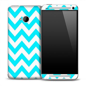 Large Turquoise V2 and White Chevron Pattern Skin for the HTC One Phone