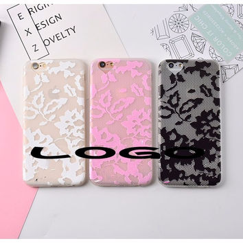 Lace Relief Case For iPhone 7 7Plus 6Plus 6 6s Soft TPU Mobile Phone Case Back Cover Fashion Protective Skin
