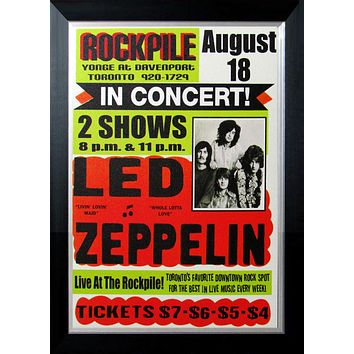 LED ZEPPELIN AUG 1969 TORONTO ROCKPILE CONCERT SITE POSTER CUSTOM FRAMED