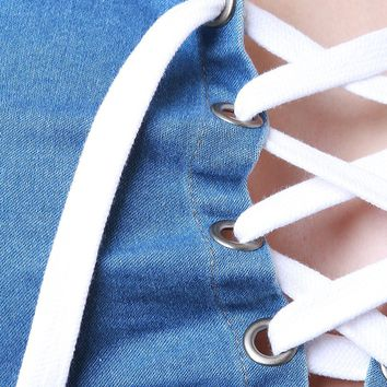 Sleeveless Frayed Chambray Lace-Up Crop Top