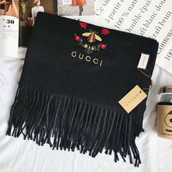 GUCCI Fashion Women Embroidery Cashmere Tassel Scarf Shawl Scarves Accessories Black