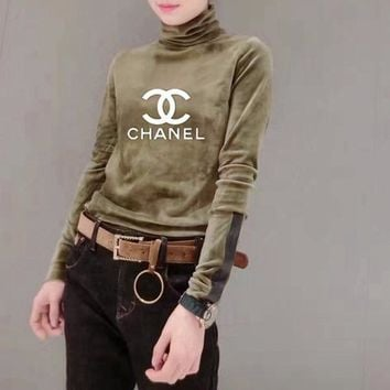 """Chanel"" Women Casual Fashion Letter Logo Print Turtleneck Long Sleeve  Velvet T-shirt Tops"