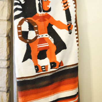 Indian BLANKET // Tribal Mexican SOUTHWESTERN throw // Vintage // Linens // Camping Blanket