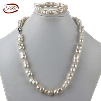 SNH  10-12mm AA baroque Amazing price 925 sterling silver jewelry real natural freshwater pearl jewelry set for women