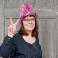 Pink Pussy top hat, feminist pink hat, Women's Rights Hat, feminist March hat, vagina pride, felted wool high hat, girl pussy power, OOAK