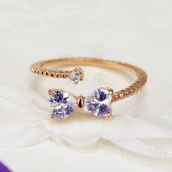Bow and Round Rhinestone Wrapping Finger Cuff Ring (Adjustable Band) - LilyFair Jewelry