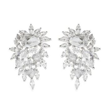 Cz By Kenneth Jay Lane Cubic Zirconia Curved Cer Statement Earrings