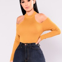 Addeva Long Sleeve Pullover - Dark Mustard