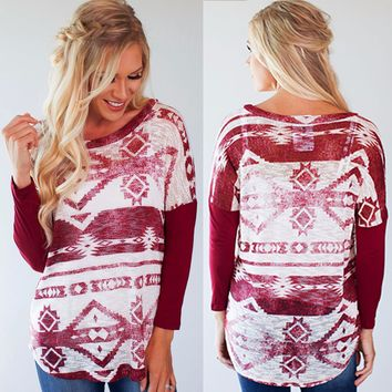 Red and White Round Neck Tops