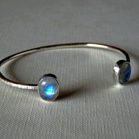 Rainbow moonstone and sterling open bangle bracelet / adjustable bracelet / bangle bracelet / moonstone bracelet / June birthstone