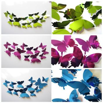 DIY 3D Mirror Butterfly Wedding Party Decor Wall Stickers