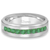 Men's Channel Set Emerald Ring Wedding Band in Platinum (0.25ct)