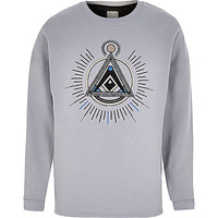 River Island MensGrey RI Studio applique sweatshirt