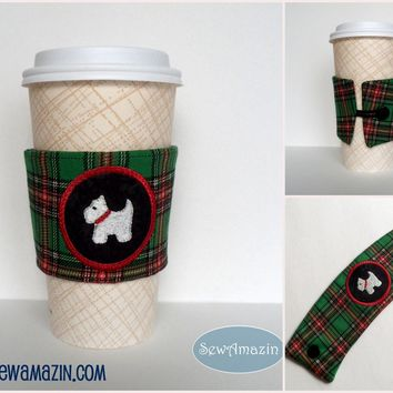 Westie Terrier Embroidered Coffee Cup Cozy, Cold Drink Wrap
