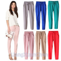 Women Fashion Casual Chffion Pants Solid Color Elastic Waist Comfy Full Length Trousers Pants  [8805232903]