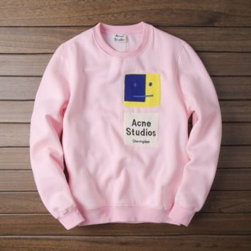 ACNE patch embroidered face couple models sweater men and women couple models Pink
