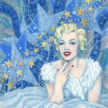 Marilyn Monroe, Old Hollywood, movie star, famous woman, celebrity portrait,fine art, white, silver & blue, art prints