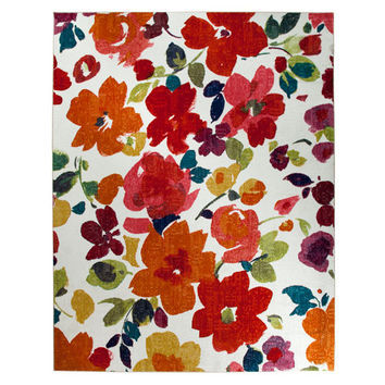 Mohawk Home 11819 416 096120 Bright Floral Toss Multi-Colored Rectangular: 8 Ft. x 10 Ft. Rug - (In Rectangular)