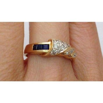Luxinelle Blue Sapphires and Diamonds Ring - 14K Yellow Gold by Luxinelle®Jewelry