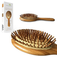 Natural Bamboo Detangling Hair Brush For All Hair Types, Anti Static Hair Detangler, Improve Hair Growth, Prevent Hair Loss, Dandruff Scalp, Bamboo Bristles Pin Massage Scalp For Healthy Hair. Wet/Dry