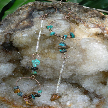 native american inspired earrings turquoise tigers eye hoops in boho hippie gypsy and belly dancer