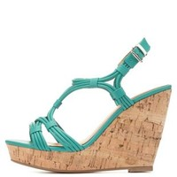 Teal Green Strappy Cork Platform Wedges by Charlotte Russe