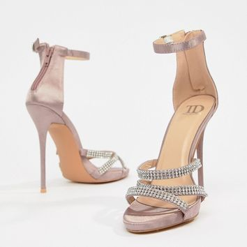 True Decadence Blush Satin Embellished Strappy Sandals at asos.com