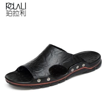 POLALI Summer Shoes Men's Slippers Size 38-48 Beach Sandal Fashion Men Sandals Leather Casual Shoes Flip Flop Sapatos masculino