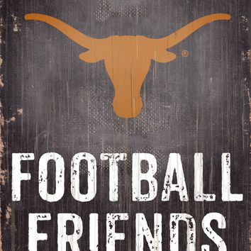 "Texas Longhorns Wood Sign - Football Friends and Family - 6""x12"""