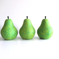 Pear: Hand Painted Pear Figurine Polyresin figurine Green yellow pear art