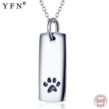 Necklace 925 Sterling Silver Necklace Lovely Classic Animal Paw Print Pendants Necklaces Fashion Jewelry For Pet Lovers GNX3587