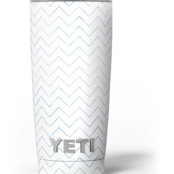 White and Thin Blue Chevron Pattern Yeti Rambler Skin Kit