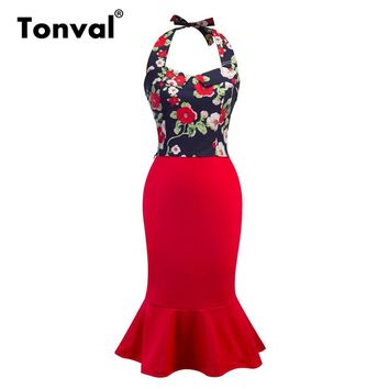 Tonval Vintage Bodycon Red Mermaid Dress Floral Print Sexy Halter Women Party Dress Two Piece Outfits Midi Dresses