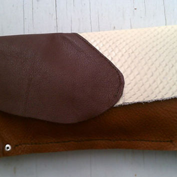 Rustic Leather Clutch Bag Purse OOAK One Of A Kind by altliae