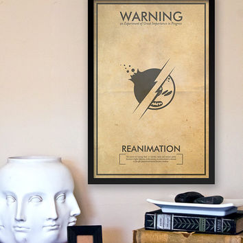 Reanimation Warning Poster: Fringe Science Fiction Inspired Iconography - 11x17 Vintage Art Print