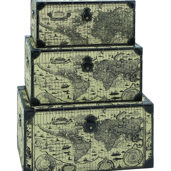 Travel Steamer Trunk Set With Ancient World Map