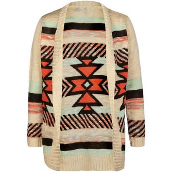 Full Tilt Aztec Girls Shawl Cardigan Cream Combo  In Sizes