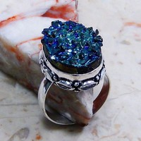 Gorgeous Natural Tanzanite Druzy Ring- Sterling Silver from GemEnvy