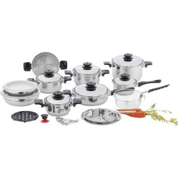 """*NEW* 28 pc 12-Element High Quality Stainless Steel """"Waterless"""" Cookware Set"""