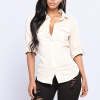 Taylor Button Down Top - Khaki