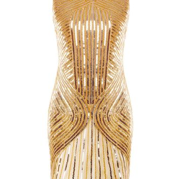 1920s Sequined Inspired Beaded Gatsby Flapper Evening Dress Prom