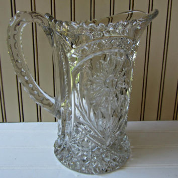 "Vintage Glass Pitcher Lead Crystal Glass Heavy Ornate Fancy 8.5"" Tall"