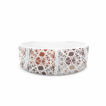 "Laura Nicholson ""Thatch Plaid"" White Multicolor Pet Bowl"