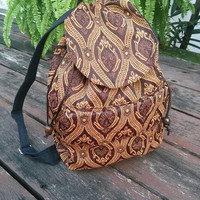 Aztec Tapestry Ethnic Ikat Tribal Backpack Boho Hippie Design Woven Rucksack Gypsy Nepali Handwoven Patterns Bags For Beach School 14x12inch