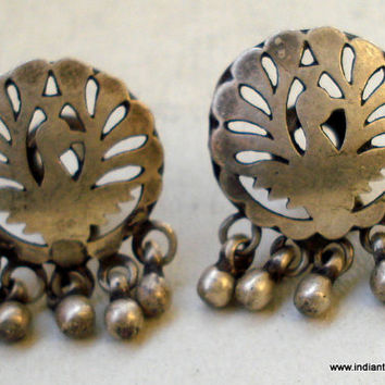 vintage antique tribal old sterling silver ear plug earrings belly dance jewelry