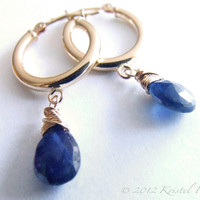 Natural Blue Sapphire Hoop Earrings in Solid 14k Gold hoops, September birthstone gift