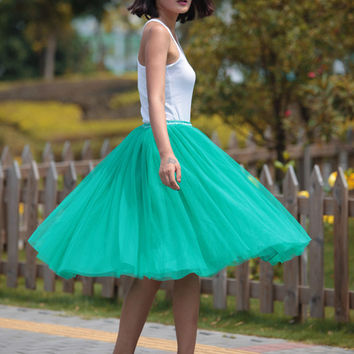 Tulle Skirt Tea length Tutu Skirt Knee length tulle tutu Princess Skirt Wedding Skirt in Emerald - NC455
