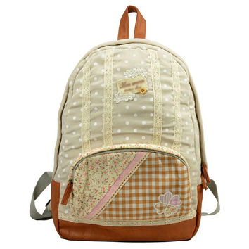 Floral Embroidery Polka Dot With Plaid And Lace Patchwork Backpack/Travel Bag